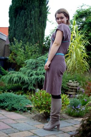 unknown dress - H&M tights - Bijenkorf boots