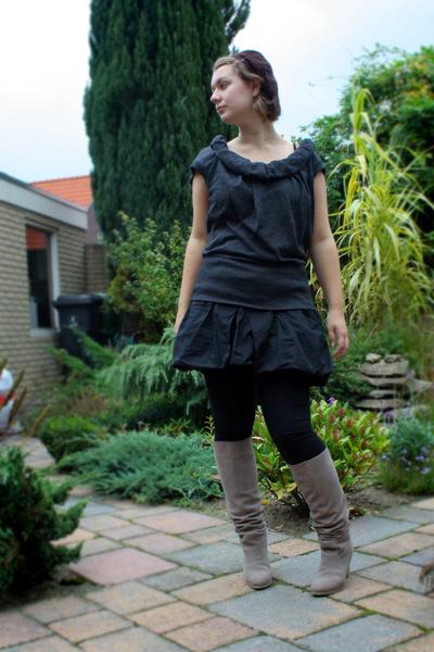 Vero Moda top - warehouse skirt - H&M leggings - Bijenkorf boots - Accessorize h