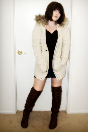 beige sweater - blue skirt - brown eco ga nik shirt - brown boots