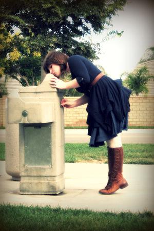 blue Puella dress - blue Fossil skirt - brown vintage belt - brown boots - beige