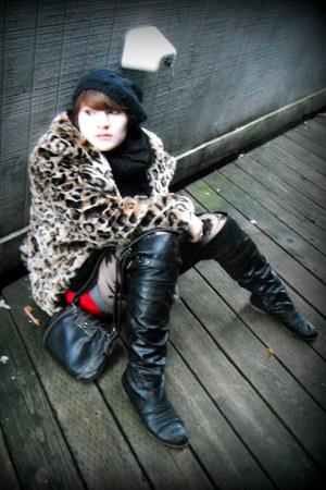 beige leopard print Guess coat - black Carlos Santana boots - black knit hat