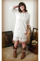 white Aerie sweater - white Gap dress - brown Oak Tree Farm boots