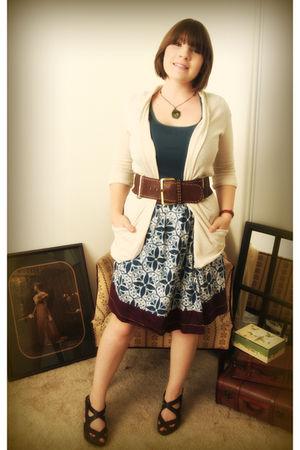 blue JCrew shirt - white Anthropologie skirt - beige Silence & Noise cardigan -