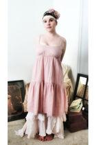 pink Nataya skirt - pink Gap dress - pink accessories - green accessories - whit