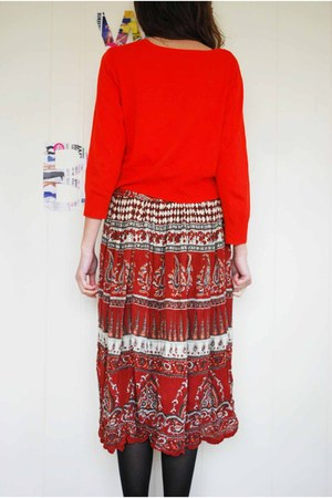 brick red unknown skirt