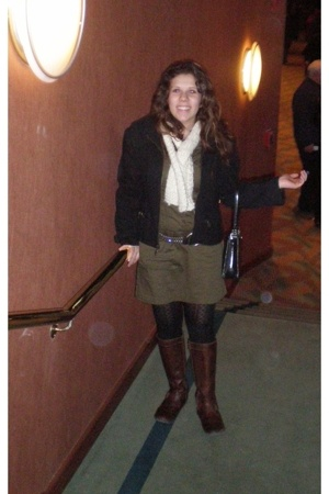 scarf - jacket - dress - boots - Target tights - belt