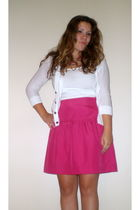 pink Ann Taylor Loft skirt - white Express top - white Gap cardigan