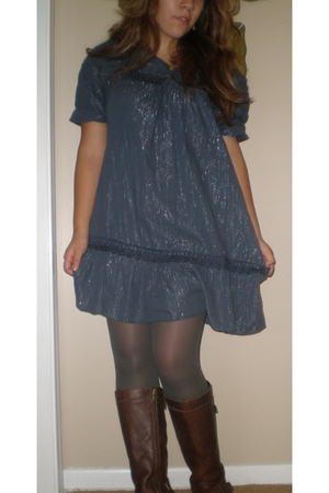 dress - HUE stockings - boots - earrings