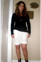 black Old Navy top - white Gap shorts - silver random brand from tj maxx necklac