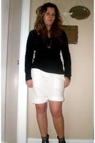 black Old Navy top - white Gap shorts - silver random brand from tj maxx necklac