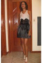 silver c&a shirt - black Made by my dressmaker skirt - beige c&a shoes - purple