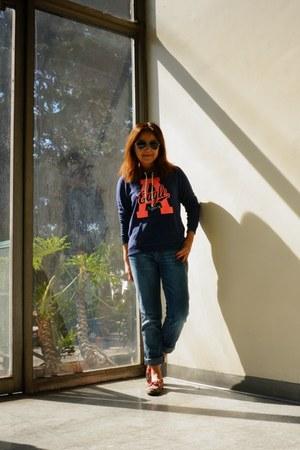 blue hoodie American Eagle sweatshirt - boyfriend Zara jeans