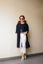 taupe leather Gap belt - navy linen shop Urban Renewal coat