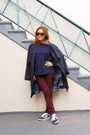 Zara coat - navy boat neck Gap sweater - black frame kate spade sunglasses