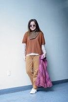 wool and mohair vintage cape - camel selvedged BDG jeans - J Crew sweater