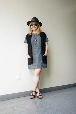 free people dress - black panama TC hat - black linen For Joseph vest