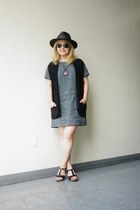 free people dress - black panama TC hat - black linen For Joseph vest