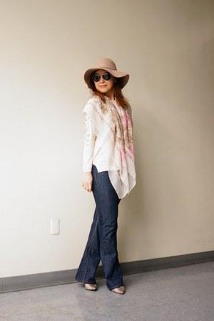 chiffon square tie shop scarf - Zara jeans - Christys hat