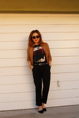 camel leather asos jacket - quay sunglasses - graphic ballet Zara top