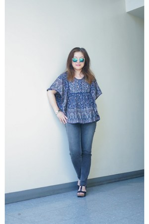 World Market top - charcoal Level 99 jeans