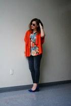 orange red knit H&M cardigan - Zara jeans - reformed shirt