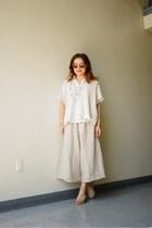 white BDG shirt - cream fringed madewell sweater