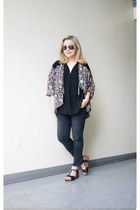 printed painter abercrombie and fitch cardigan - black ankle Zara jeans
