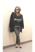 grey Level 99 jeans - BDG coat - mirror lens Urban Outfitters sunglasses