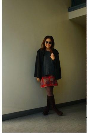 plaid knit unknown brand skirt - sam edelman boots