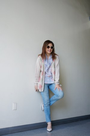 argyle Wool Jumper cardigan - light blue Zara jeans