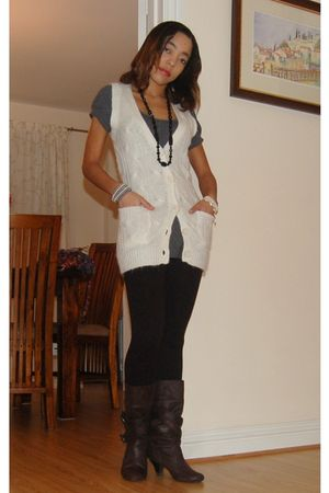 white sweater - gray top - black tights - black boots - black accessories - whit