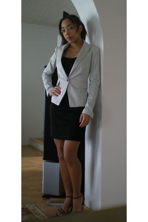 black Forever 21 dress - beige Newlook jacket - black accessories