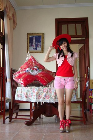 red red hat unbranded hat - bubble gum denim shorts unbranded shorts