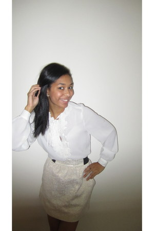 vintage blouse - Charlotte Russe skirt - vintage earrings