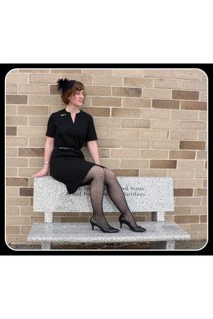 black Target hat - silver vintage accessories - black Dyanne of Dallas dress - b