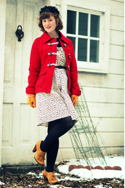 red wool Tulle coat - ivory Raffine Boutique dress - navy vintage hat