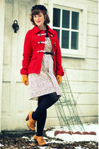 red wool Tulle coat - ivory Raffine Boutique dress - navy vintage hat