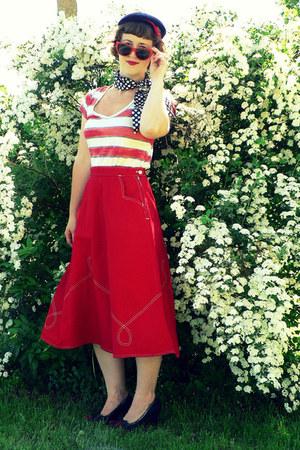 navy vintage hat - navy polka dot vintage scarf - red Target sunglasses - red Ga