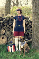 blue etsy via flickr vintage bag - brown fedora Target hat