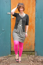 black Claires sunglasses - gray Target cardigan - black modcloth dress - pink HU