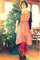 red striped modcloth dress - red HUE tights