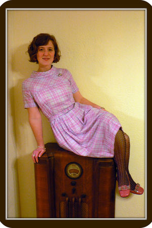pink vintage dress - silver thrifted accessories - brown HUE stockings - pink Ga