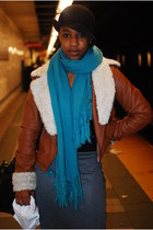 turquoise blue scarf - tawny jacket - gray skirt - black hat