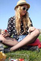 blue vintage blouse - black brike lane vintagh shoes - beige Primark hat