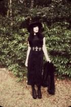 black Office boots - black vintage dress - black Beyond Retro coat