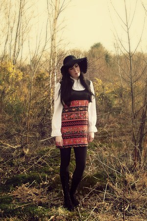 black vintage 1970s boots - carrot orange vintage 1970s dress - black asos hat