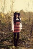 black vintage 1970s boots - carrot orange vintage 1970s dress - black asos hat