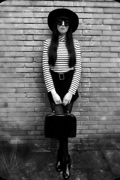 black Topshop boots - black H&M hat - off white vintage sweater