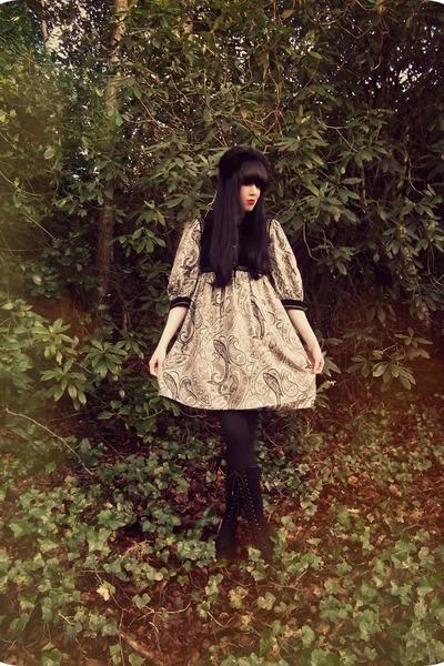 vintage boots - boots - black vintage boots - black vintage dress