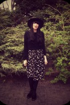black velvet docs H&M boots - black H&M hat - black Topshop sweater